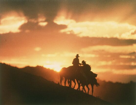 Peter Fonda and Warren Oates in The Hired Hand, shot by Vilmos Zsigmond</p>
