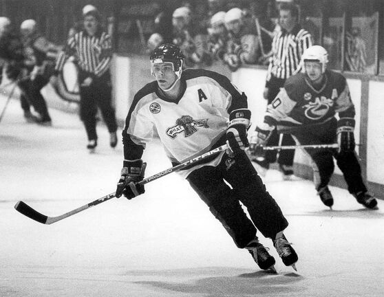 Kevin Cheveldayoff playing with the Brandon Wheat Kings in the 1987-88 season.