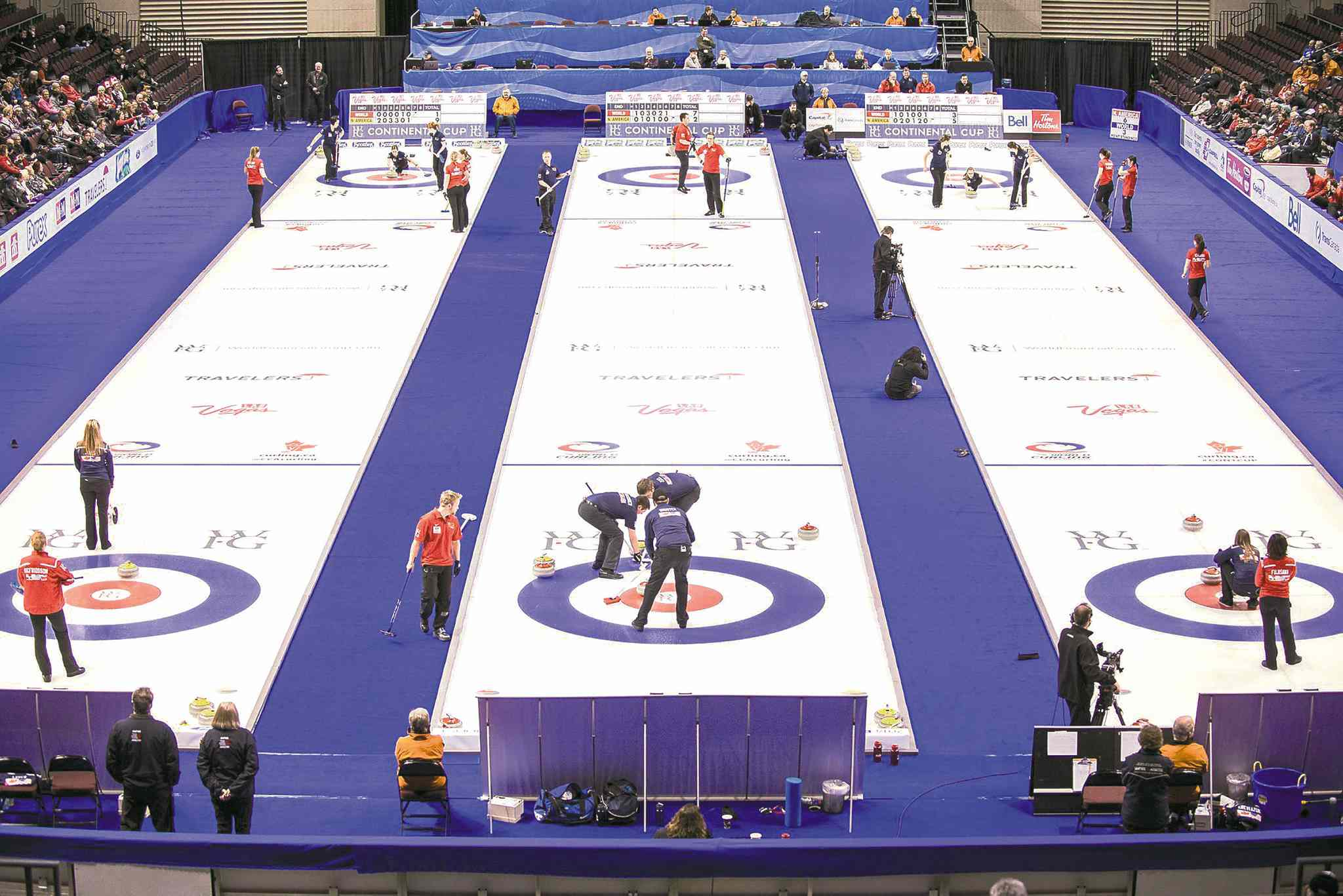 Three sheets are rocking at the Orleans Arena in Las Vegas this week as curlers take Sin City by storm. Thousands of Canadian fans flew south to watch Continental Cup action.
