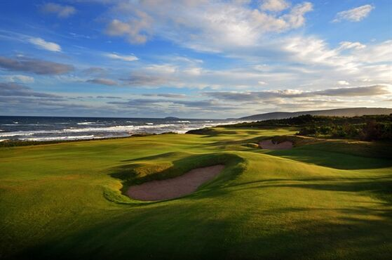 This 2013 photo shows the Cabot Links golf course in Inverness, Nova Scotia, Canada, along the Gulf of St. Lawrence. Cabot Links opened in 2012 and is being joined in 2015 by the adjacent Cabot Cliffs course as a golf destination in Atlantic Canada. (Dave Scaletti/Cabot Links via AP)