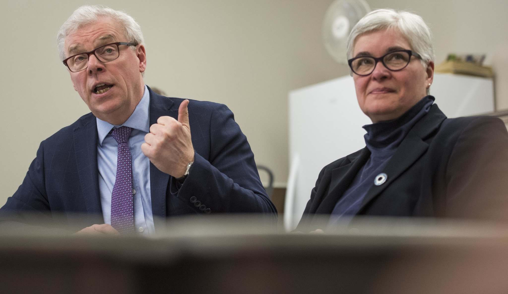 DAVID LIPNOWSKI / WINNIPEG FREE PRESS</p><p>Selinger with Riel MLA Christine Melnick at a campaign announcement. &#8216;Let&rsquo;s get you elected,&rsquo; he said of Melnick.</p></p></p></p>