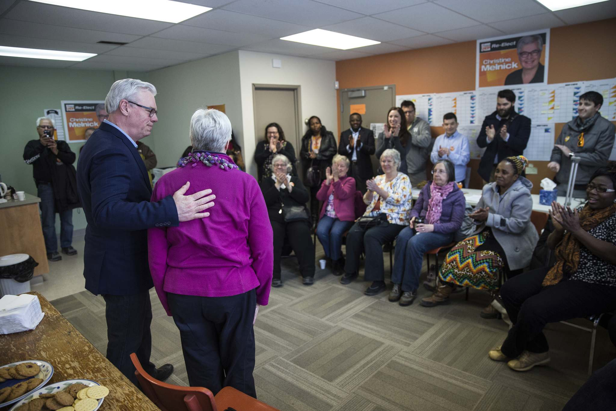 MIKE DEAL / WINNIPEG FREE PRESS</p><p>Despite past infighting, Selinger has worked to support remaining veteran NDP incumbents, including Riel MLA Christine Melnick.</p></p>