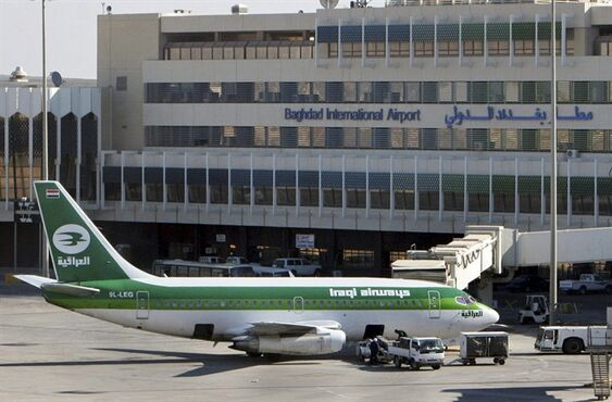 FILE - In this Dec. 28, 2005 file photo, an Iraqi Airways plane sits on the tarmac at Baghdad International Airport. European and Dubai-based airlines have begun rerouting flights over Iraqi airspace as a security precaution, though Iraq says its skies are safe. (AP Photo/Khalid Mohammed, File)