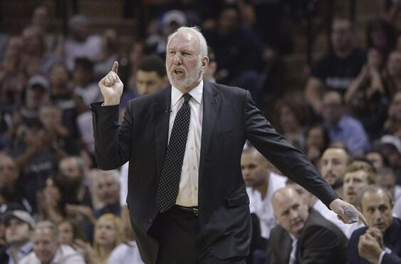 San Antonio Spurs coach Gregg Popovich argues a call during the first half of Game 3 against the Los Angeles Clippers in an NBA basketball first-round playoff series, Friday, April 24, 2015, in San Antonio. (AP Photo/Darren Abate)