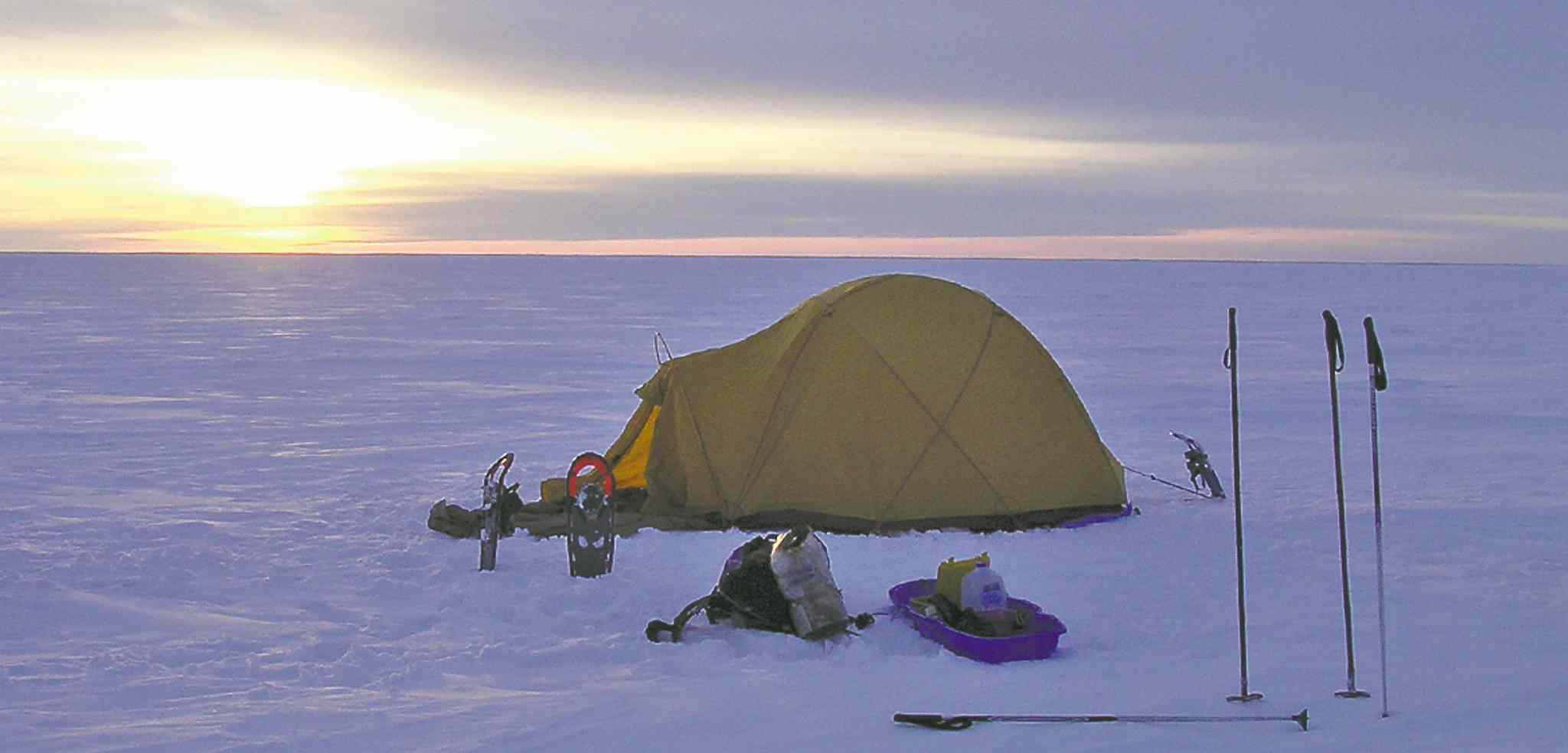 Winter camping on Lake Winnipeg: Reserving a site is never a problem.