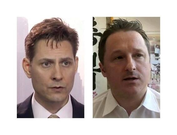 Michael Kovrig (left) and Michael Spavor, the two Canadians detained in China, are shown in these 2018 images taken from video. (THE CANADIAN PRESS)