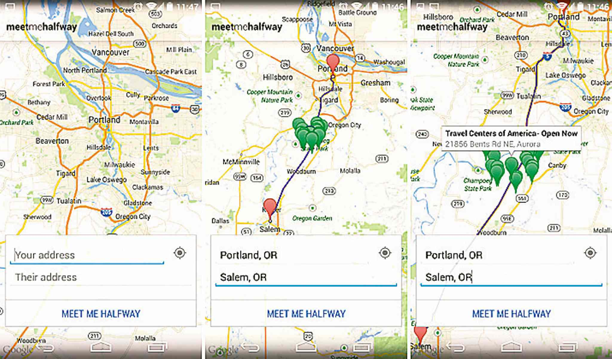 The Meet Me Halfway app helps find a meeting spot between two locations.