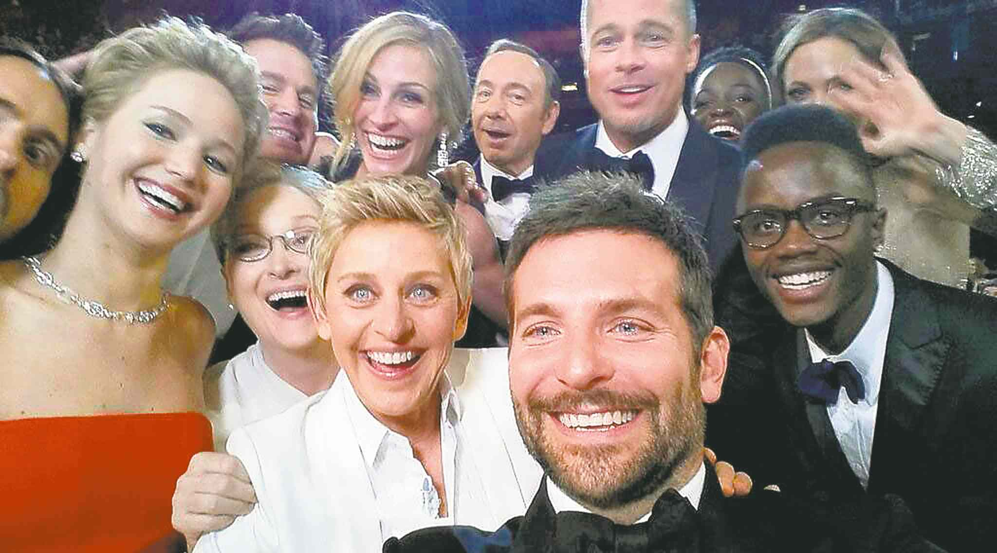 Front row from left, Jared Leto, Jennifer Lawrence, Meryl Streep, Ellen DeGeneres, Bradley Cooper, Peter Nyong'o Jr., and, second row, from left, Channing Tatum, Julia Roberts, Kevin Spacey, Brad Pitt, Lupita Nyong'o and Angelina Jolie.