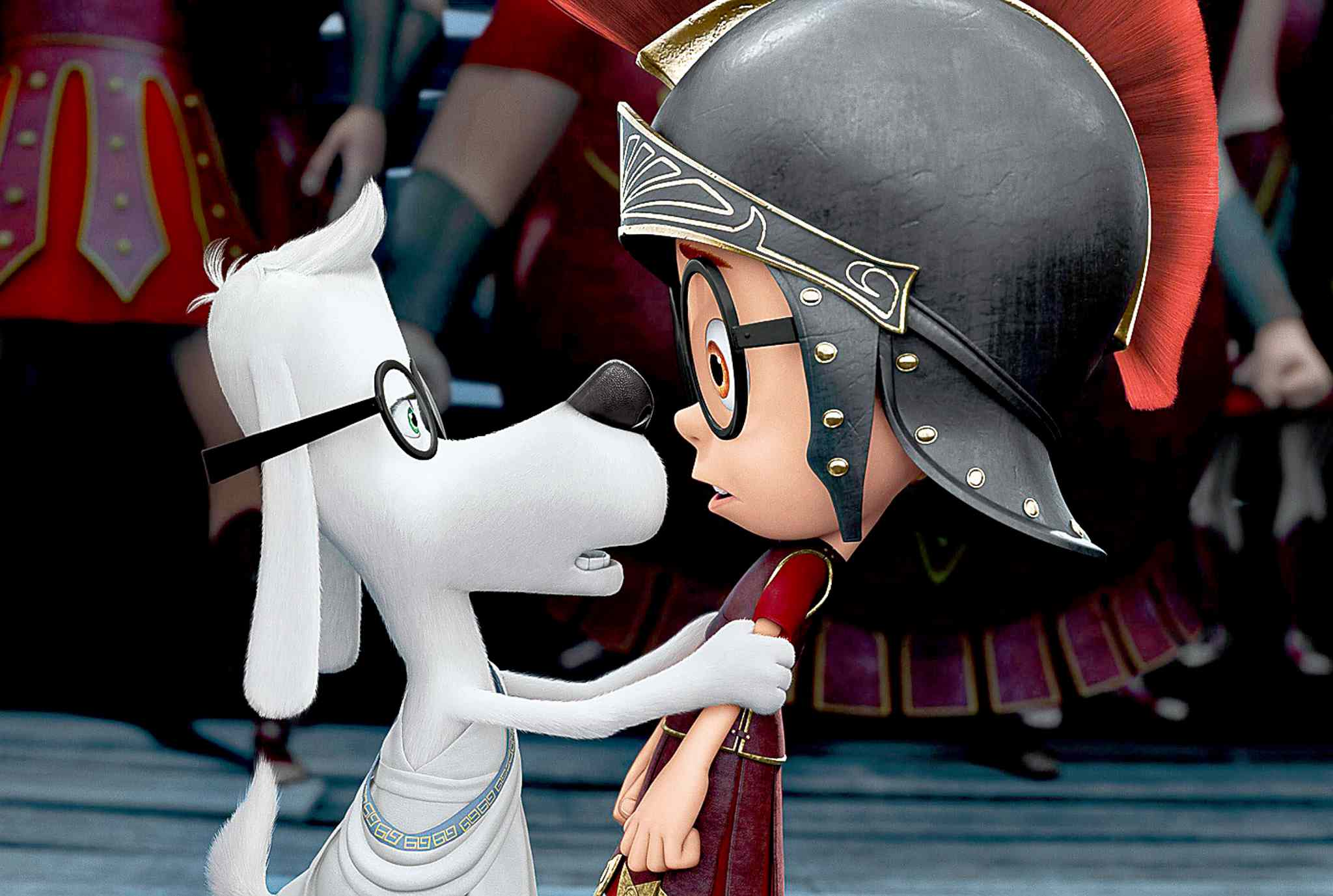 This image released by DreamWorks Animation shows Sherman, voiced by Max Charles, right, and Mr. Peabody, voiced by Ty Burell, in a scene from Mr. Peabody & Sherman.