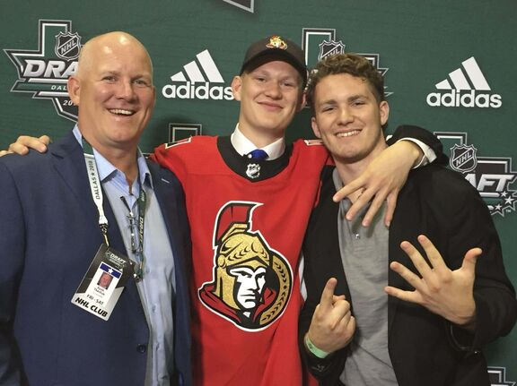 twitter photo / @Senators</p><p>The Ottawa Senators tweeted this picture during the first round of the 2018 NHL Entry draft Friday night. Former Winnipeg Jet Keith Tkachuk, left, with his sons, Brady, picked fourth by the Senators in this year's draft, and Matthew, picked sixth overall by the Calgary Flames in 2016. </p>