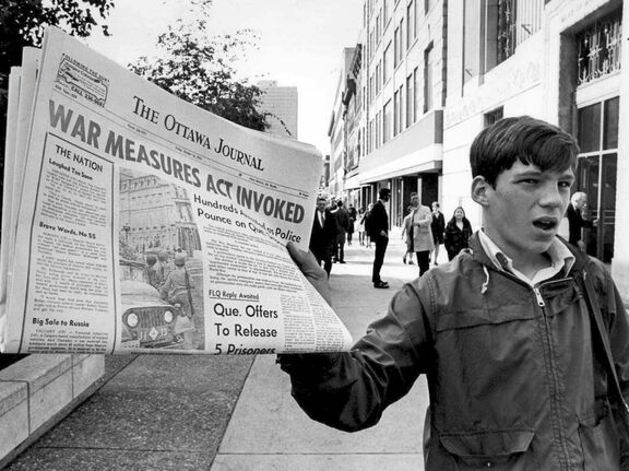 A newspaper headline describes the extraordinary measure taken in 1970. (Peter Bregg / The Canadian Press files)