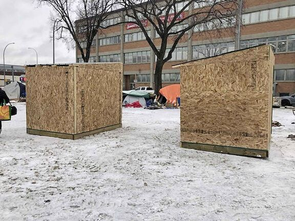 SUPPLIED                                                                      Earlier this year, Urban Knights and Ladies Veterans Ambassador Peace Patrol enlisted a carpentry class at a high school in Stonewall to build a pair of warming huts, to be placed in Winnipeg where they might be of good use to homeless people.  On Nov. 29, the two small, wooden huts (which were rudimentary: no insulation or windows) were erected near Disraeli Freeway. But within a few days, they were dismantled without the organization being notified.    - Ben Waldman story / Winnipeg Free Press 2019