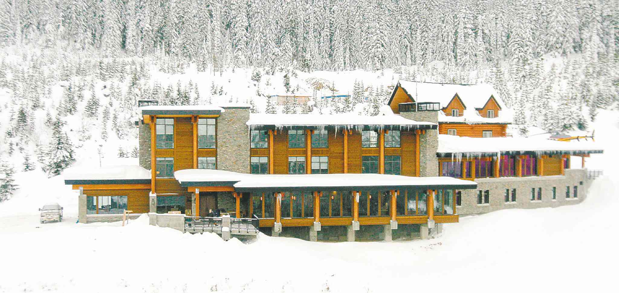 The new 17-million dollar lodge at Mica Heli-Skiing.