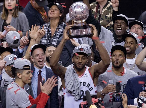 Kawhi Leonard became part of NBA lore when his last-second shot in Game 7 of the Eastern Conference semifinal against the Philadelphia 76ers bounced off the rim four times before going in, giving the Raptors a 92-90 victory. (Frank Gunn / The Canadian Press files)</p>