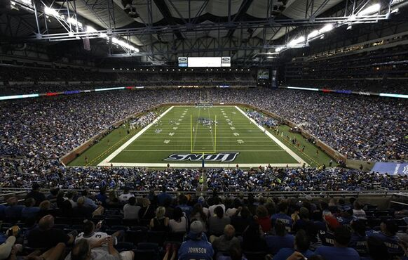 FILE - In this Aug. 28, 2011, file photo, the Detroit Lions taken on the New England Patriots in an NFL preseason football game at Ford Field in Detroit. Snowed out in Buffalo, the Bills are heading to Detroit to play their