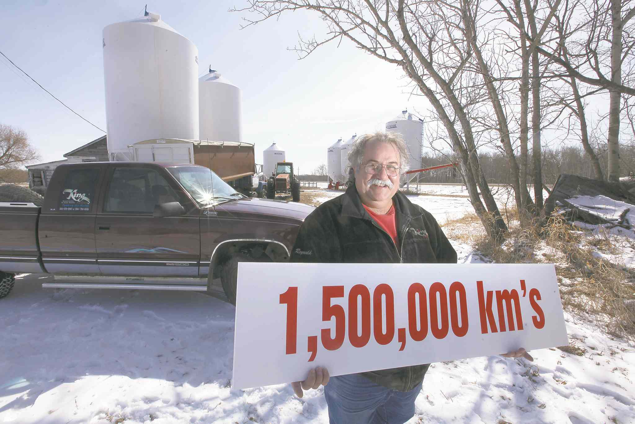 Reynald Gauthier, a millet farmer from St. Claude, has driven his 1997 GMC pickup truck for 1.5 million kms and hopes to drive it a few thousand more.