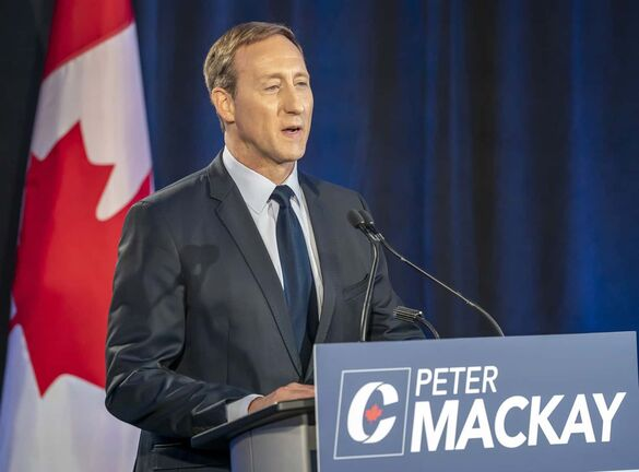 Conservative Party of Canada leadership candidate Peter MacKay makes his opening statement at the start of the French Leadership Debate in Toronto on Wednesday, June 17, 2020. THE CANADIAN PRESS/Frank Gunn