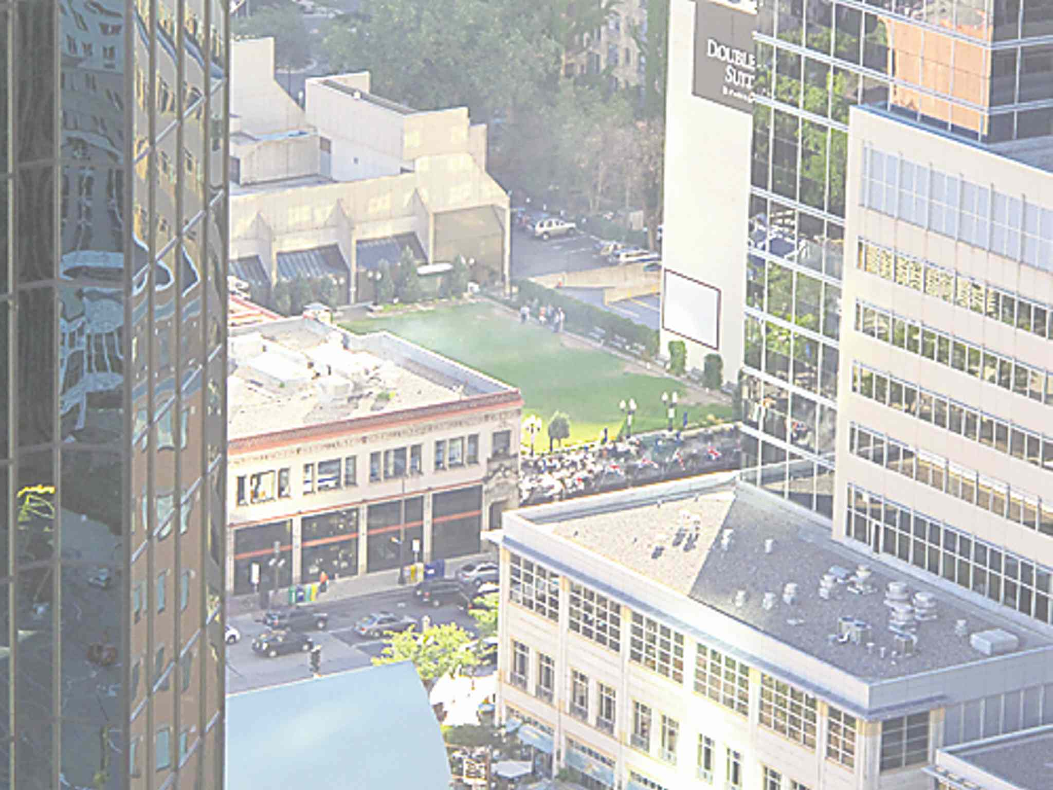 Brit's Pub boasts a lawn bowling green on its roof. This view of it is from the top of the Foshay Tower.