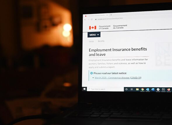 The employment insurance section of the Government of Canada website is shown on a laptop in Toronto on April 4, 2020. Statistics Canada will release its July labour force survey Friday. June's unemployment fell to 12.3 per cent after hitting a record high 13.7 per cent in May as the economy added 953,000 jobs. July's numbers will give a broader picture of how the start of the economic recovery from COVID-19 pandemic is playing out. THE CANADIAN PRESS/Jesse Johnston