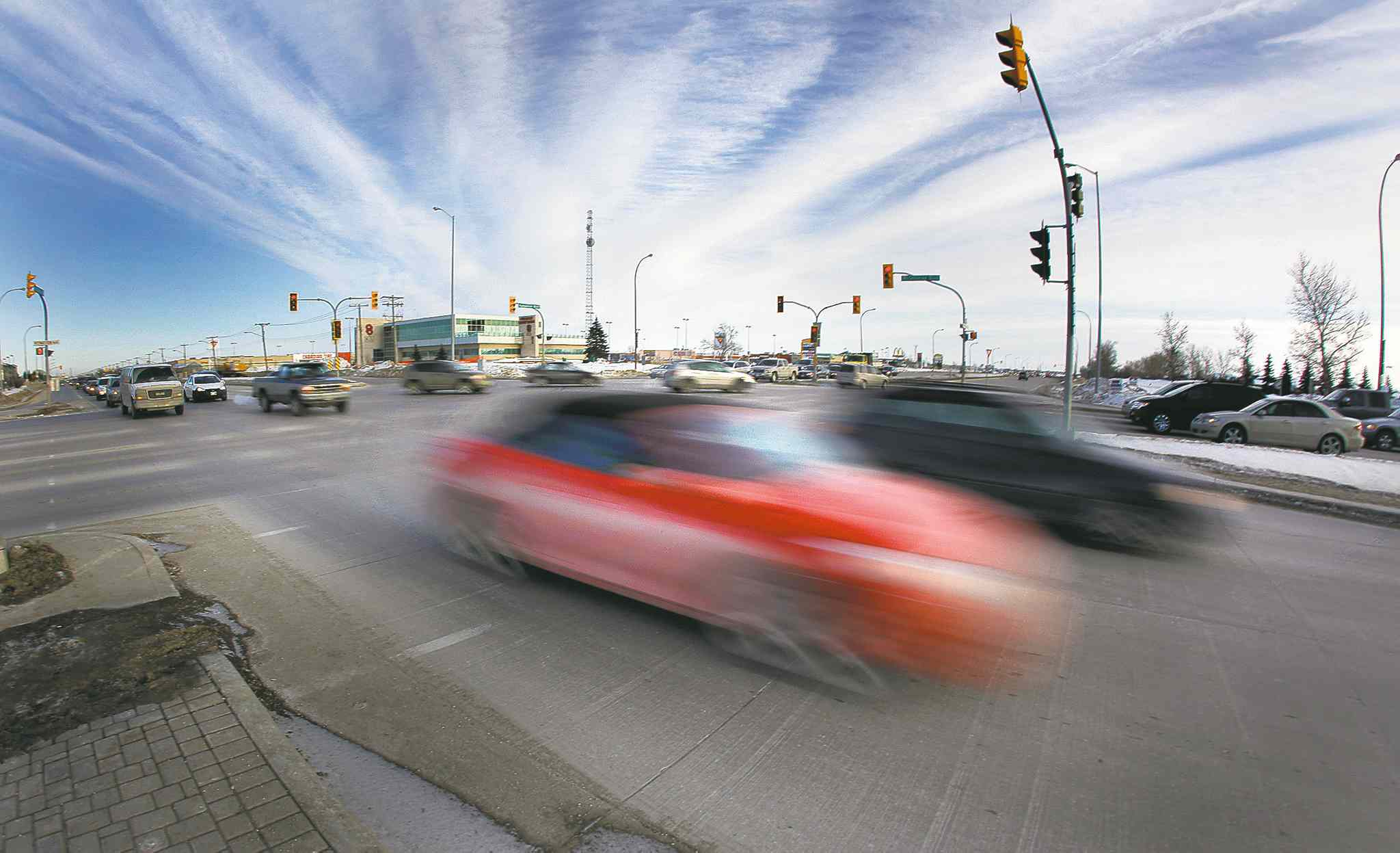 February 8, 2011 - 110208  -  Traffic flies through the intersection of McGillivray Boulevard and Kenaston Boulevard on Tuesday, February 8, 2011. A recent MPI report states the intersection has the most motor vehicle collisions of all city intersections.    John Woods / Winnipeg Free Press