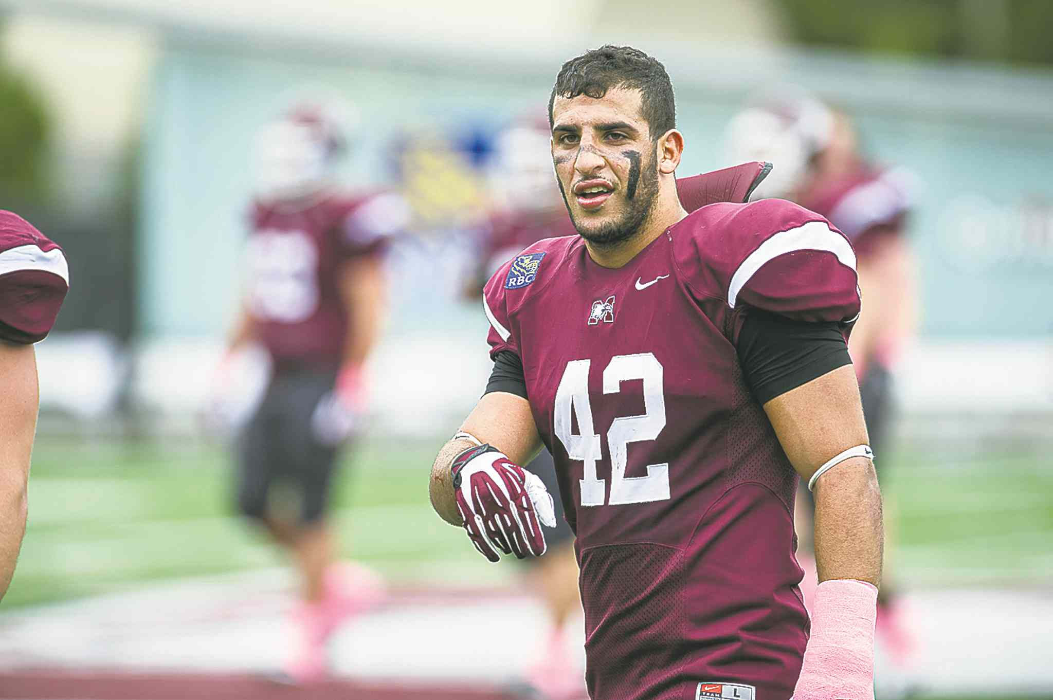 McMaster University linebacker Aram Eisho put pen to paper on Saturday, signing with the Bombers.