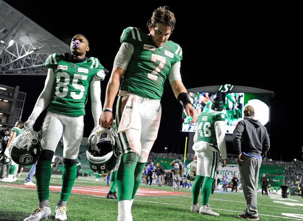 A dejected Cody Fajardo leaves the field after his last-second throw hit the goalpost in the West final against the Winnipeg Blue Bombers on Nov. 17, 2019. (Mark Taylor / The Canadian Press files)