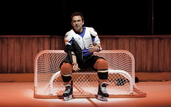 Actor Shaun Smyth plays Theo Fleury, and tells the hockey star's story, warts and all in Playing With Fire: The Theo Fleury Story, opening at the Prairie Theatre Exchange today.