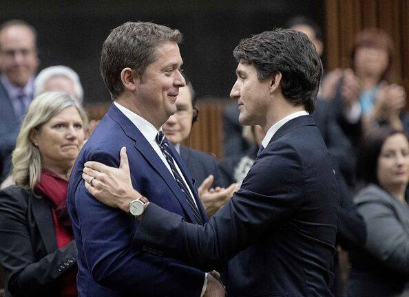 Andrew Scheer and the Conservatives received more votes than Justin Trudeau and the Liberals but still came in second, only the second time in postwar history that has happened. (Adrian Wyld / The Canadian Press)