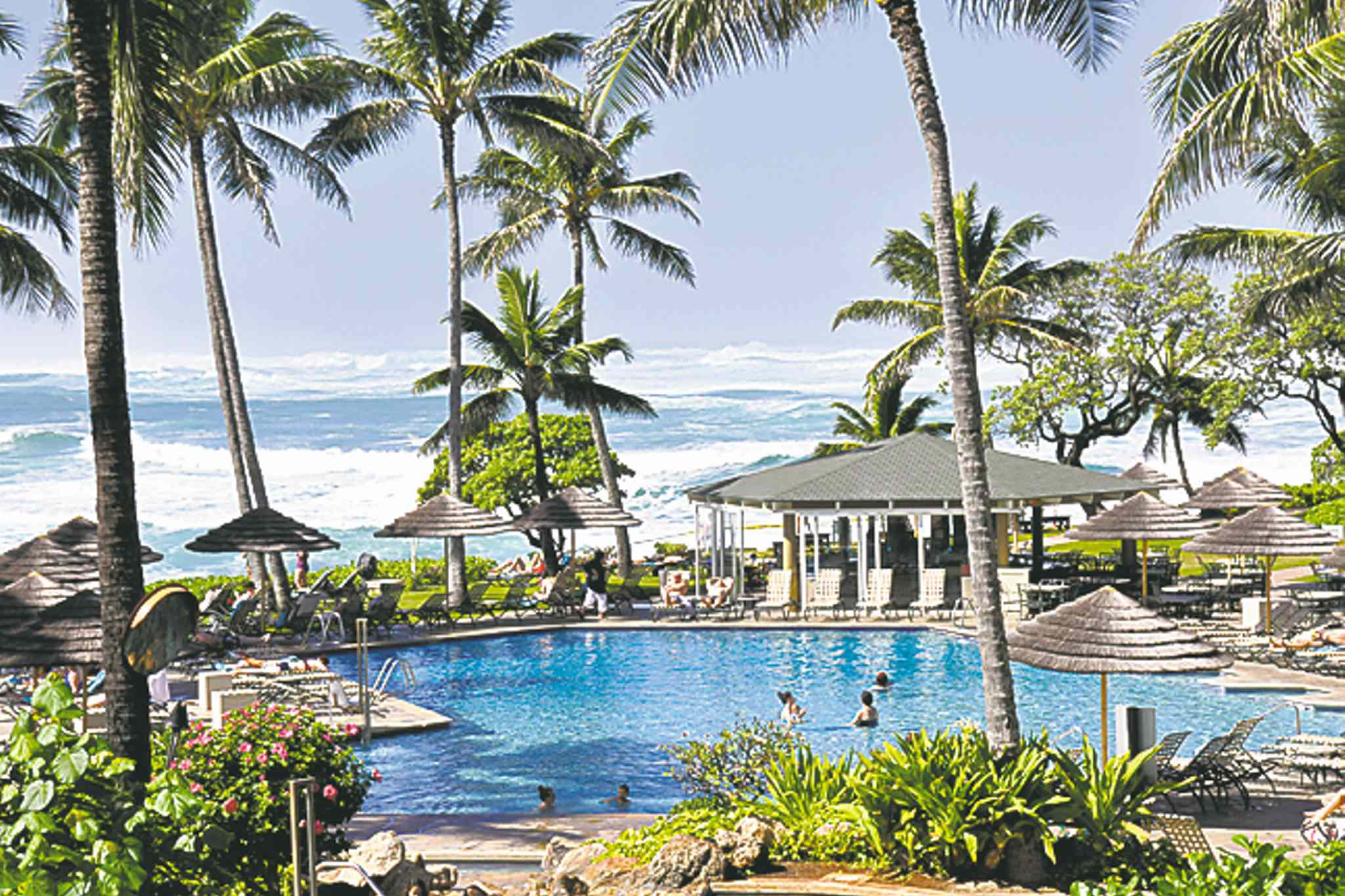You can watch the North Shore waves from the comfort of the pool at Turtle Bay.
