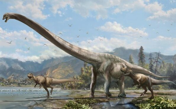 A new species of dinosaur with a neck half the length of its body, shown in this artist's rendition, has been discovered by University of Alberta paleontologists in China. THE CANADIAN PRESS/HO-University of Alberta