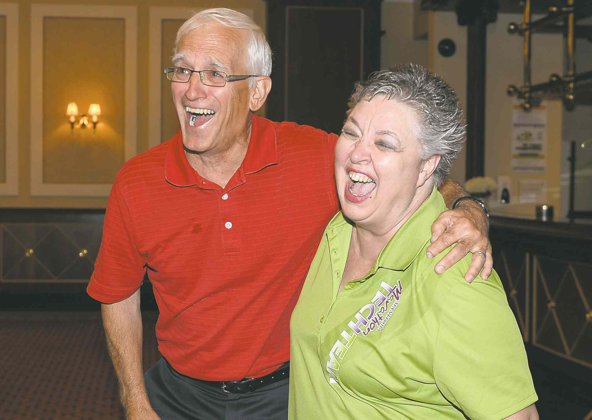 Dale Kendel and Shirley Lumb share a laugh at the Manitoba Marathon luncheon on Friday. Kendel is one of the marathon�s co-founders and Lumb has been the race�s executive director for 22 years.