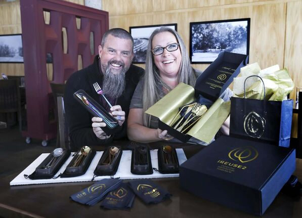 James and Nikki Buchannon are thrilled a set of stainless steel utensils will be included in the swag bags being handed out at Super Bowl LIV in Miami. (Ruth Bonneville / Winnipeg Free Press)