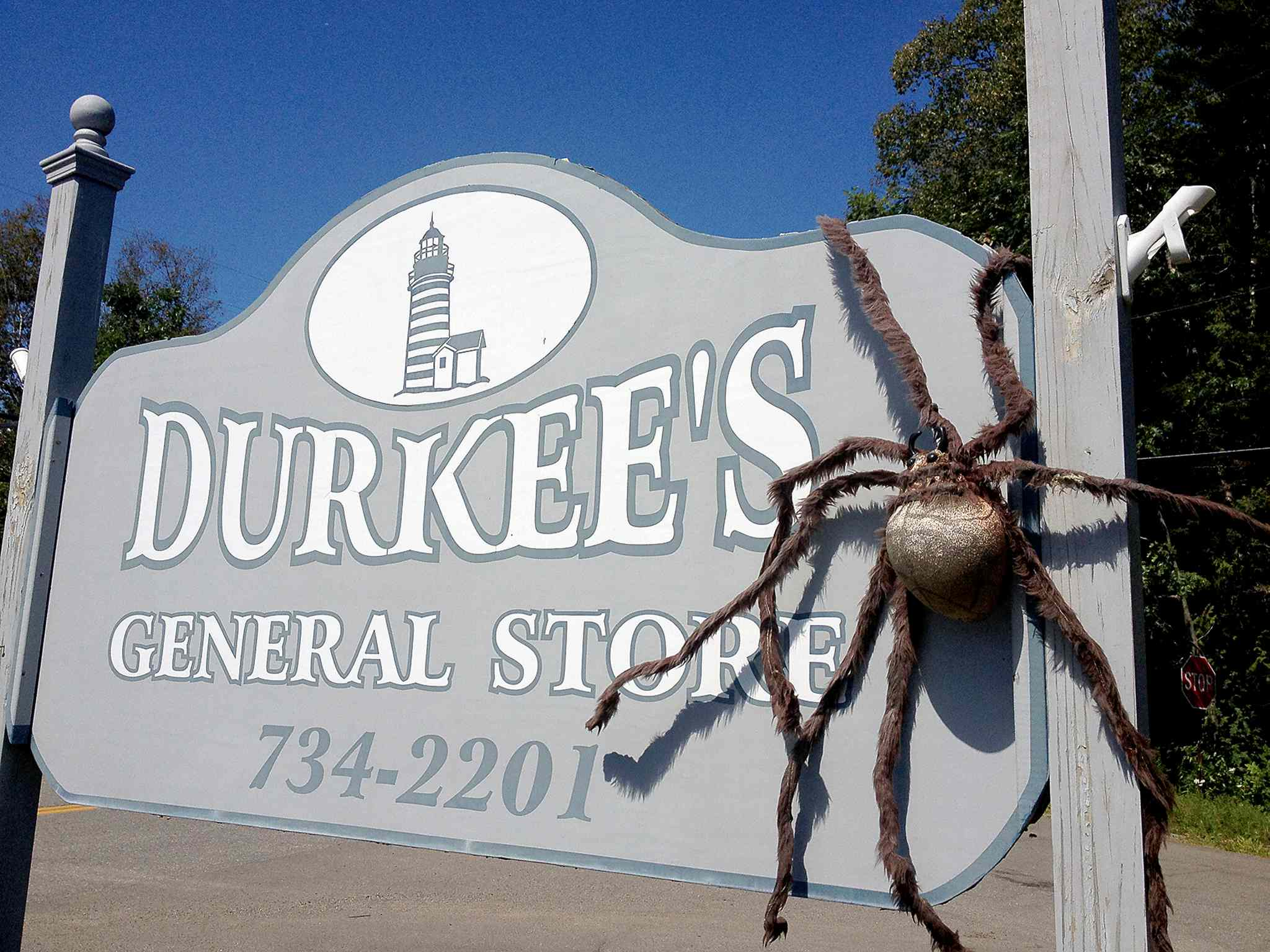Durkee's General Store in Islesboro promotes the tale of the up-island spider, which is said to live in the area.