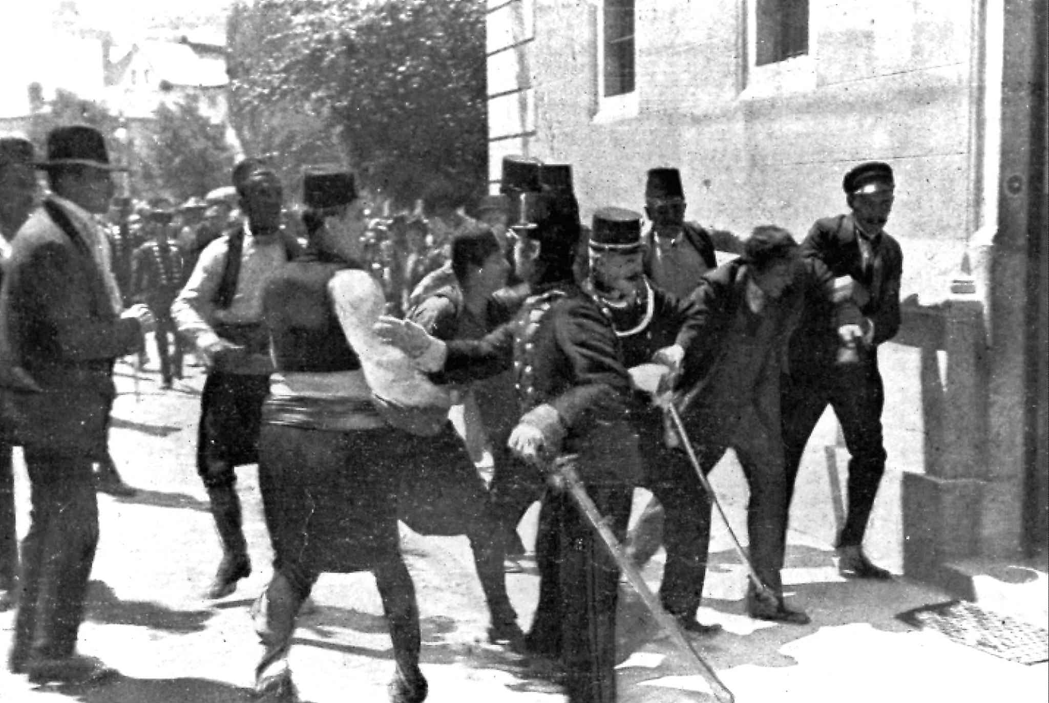 In this June 28, 1914, file photo, a suspect, (second right) is captured by police in Sarajevo, Yugoslavia, after Archduke Franz Ferdinand and his wife, Sophie, were killed.