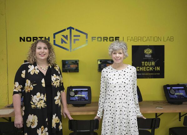 Joelle Foster (left), CEO of North Forge Technology Exchange, and Marney Stapley, VP of North Forge Technology Exchange and general manager of North Forge Fabrication Lab.