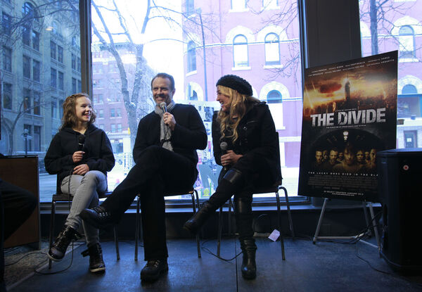 Actors in the movie The Divide from left Abbey Thickson, Michael Biehn and Jennifer Blanc interviewed by reporter Randall King at the Winnipeg Free Press News Cafe Thursday. (WAYNE GLOWACKI/WINNIPEG FREE PRESS) Winnipeg Free Press Jan. 19 2012