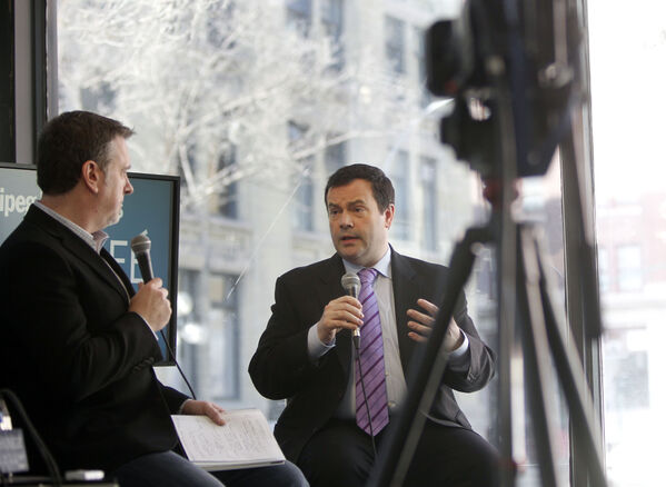 Jason Kenney, Minister of Citizenship, Immigration and Multiculturalism  discusses recent changes to the immigration system at the Free Press News Caf� Monday. Dan Lett reporting.   (WAYNE GLOWACKI/WINNIPEG FREE PRESS) Winnipeg Free Press  April 16 2012