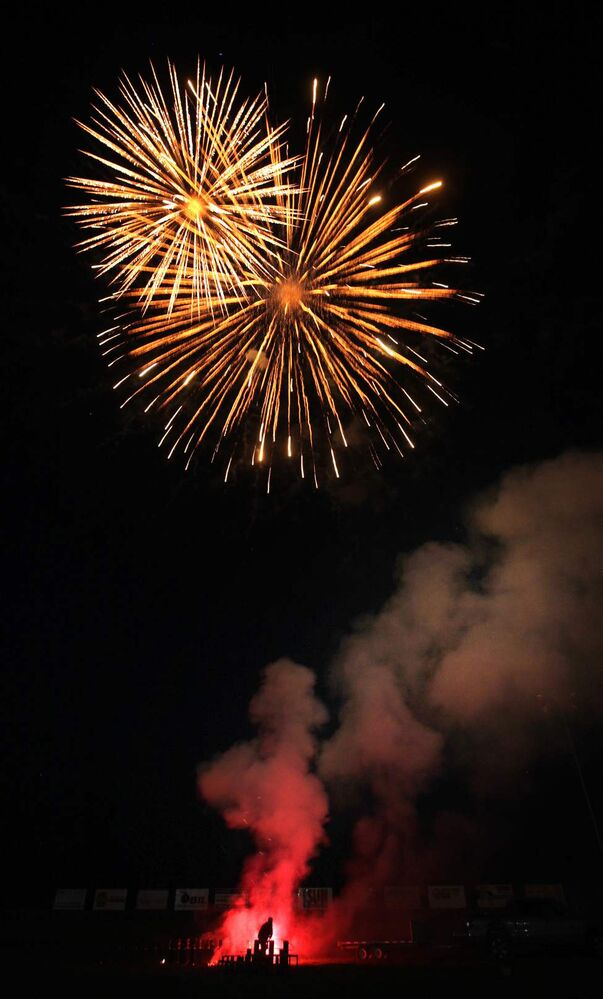 Klayton Sadlowski of Big Top Fireworks sets off a blazing show to celebrate 40 years of racing at Red River Co-op Speedway.