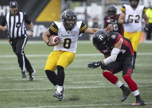 Masoli finished the 2019 season playing in six games, where he registered 1,576 passing yards and threw nine touchdowns compared to seven interceptions. (Peter Power / The Canadian Press files)