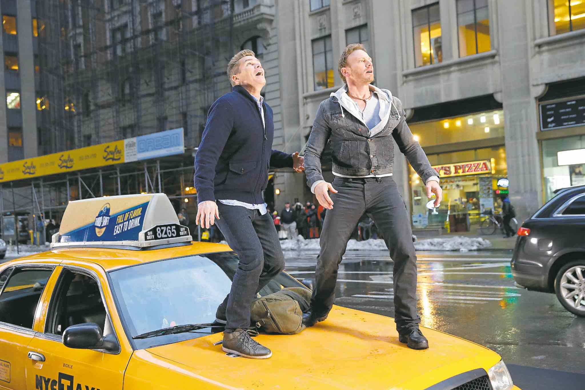 Mark McGrath (left) as Martin Brody, Ian Ziering as Fin Shepard.