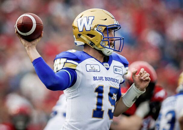 Winnipeg Blue Bombers quarterback Matt Nichols throws the ball during second half CFL football action against the Winnipeg Blue Bombers in Calgary, Saturday, Aug. 25, 2018.THE CANADIAN PRESS/Jeff McIntosh