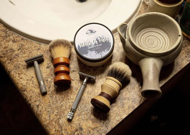 A collection of locally made shaving products sold by Stone Field Shaving Company.</p>