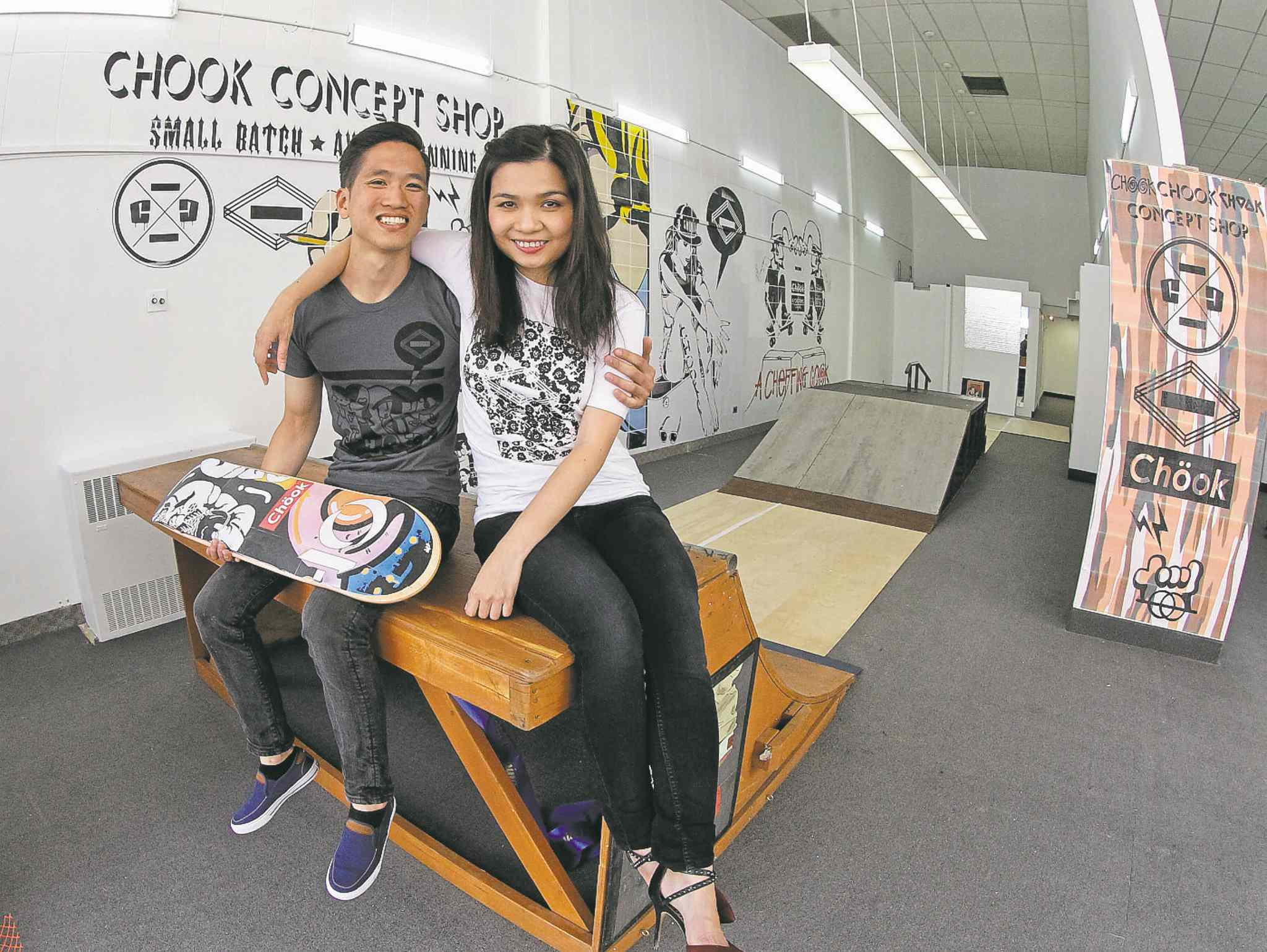 Jonathan Seah and Hannah Chau in their downtown pop-up store called Chook Clothing Co.