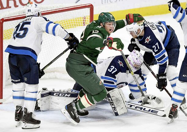 Minnesota Wild's Eric Staal celebrates his third period against the Jets last Friday in St. Paul, Minn. The Wild won 4-2 after trailing for most of the game.