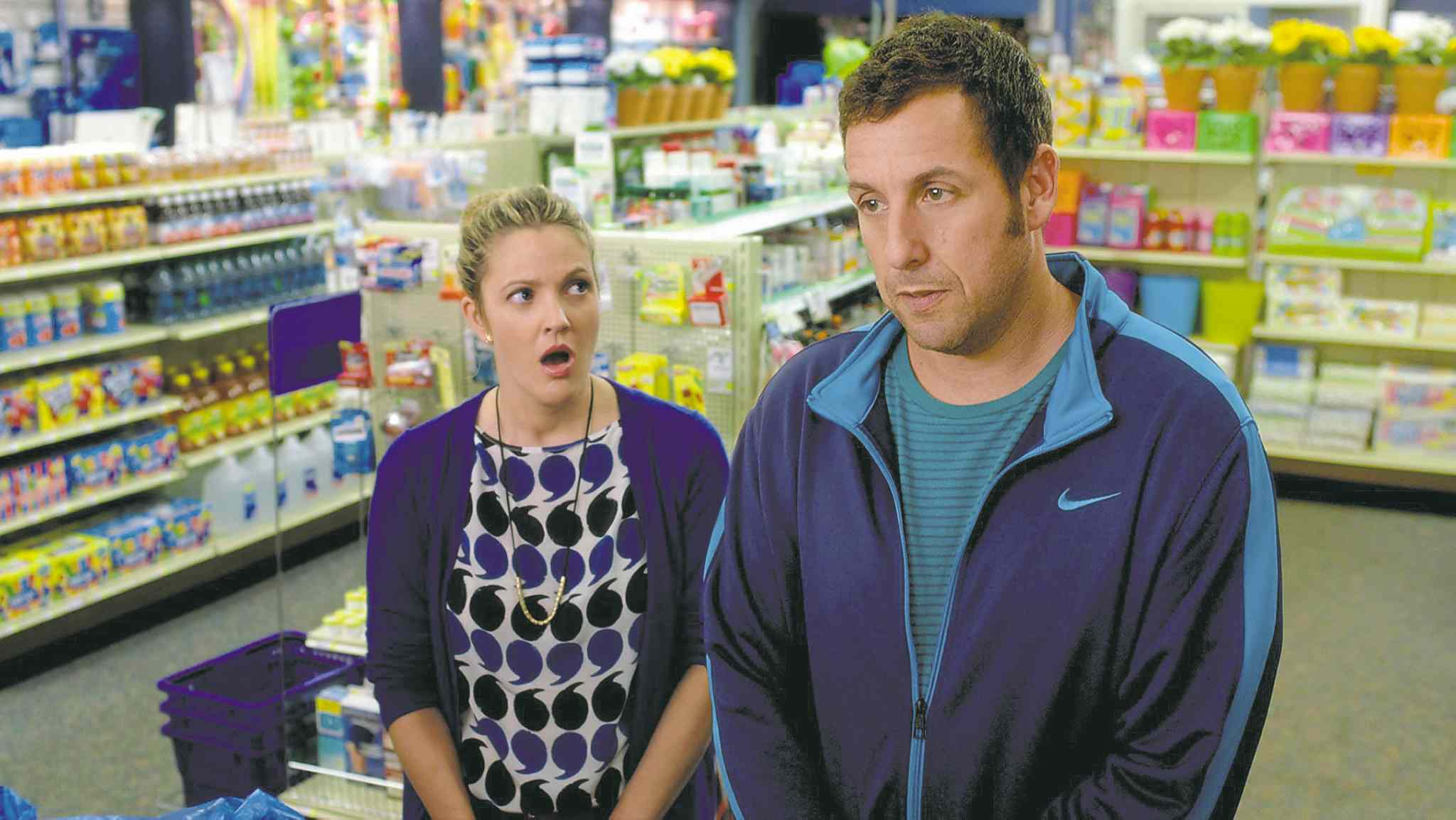Drew Barrymore and Adam Sandler