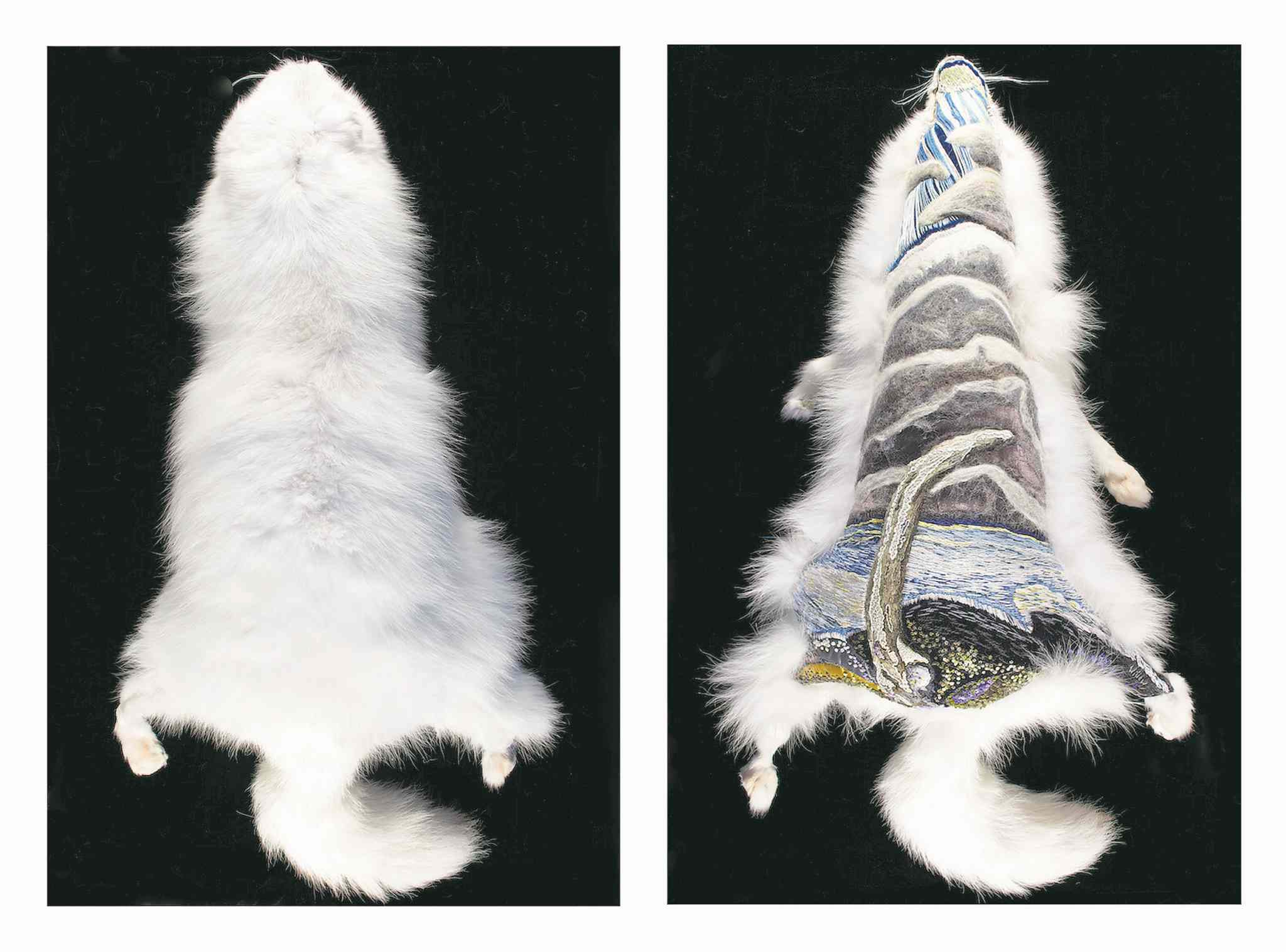 Willow Rector's The Singing Bone (embroidery on Arctic fox), from her series entitled Trapped.