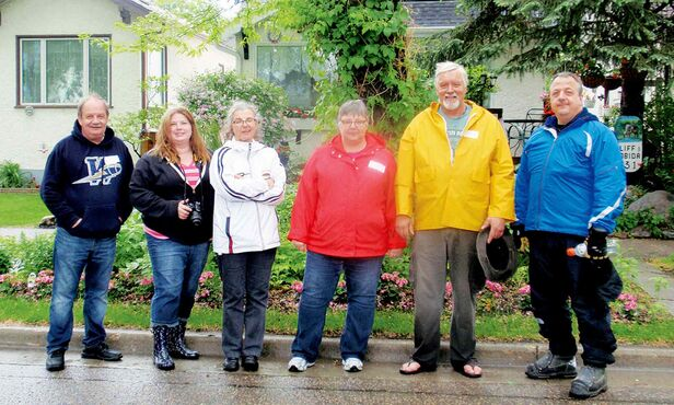 From left: Brian Timlick, Terri Sawatsky, Veronique Barthet, Shirley Leggett, Bev Leggett and Scott Anderson organized a Sherburn Street block party on June 14.