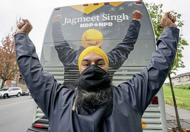 NDP leader Jagmeet Singh reacts to finishing his final campaign media availability in Burnaby, B.C. Sunday, September 19, 2021. THE CANADIAN PRESS/Jonathan Hayward