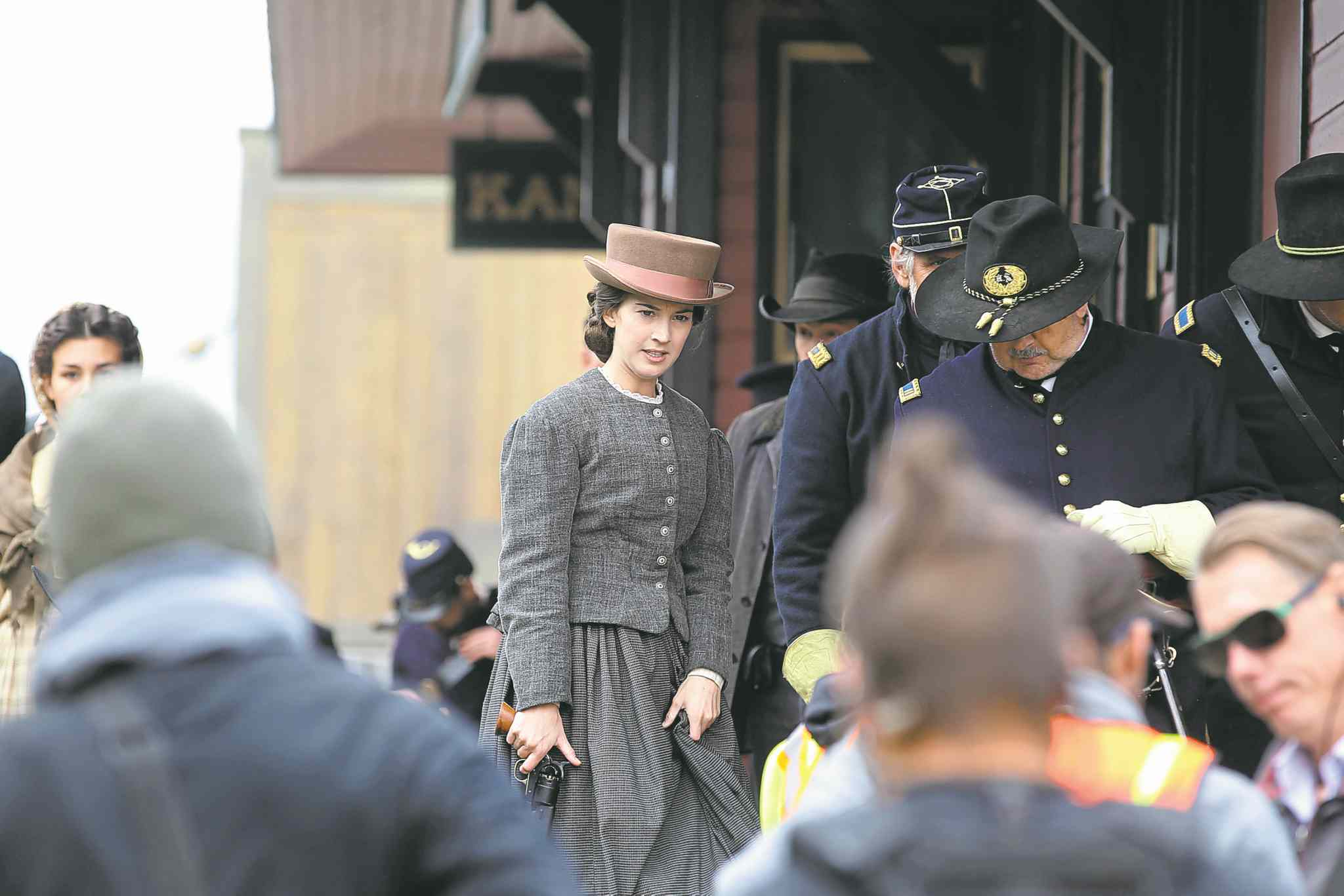 Actor Martha MacIsaac (above) plays Kate Warne, a Pinkertons operative credited with being America's first female detective. Crews and actors were out in full force  Thursday in Grosse Isle, where the TV  series The Pinkertons is currently being filmed.