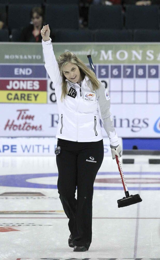 Skip Jennifer Jones reacts after a big shot. Jones' rink beat Chelsea Carey's team 10-2. (MIKE DEAL / WINNIPEG FREE PRESS)